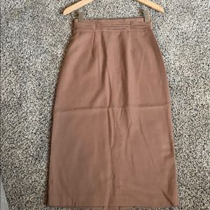 Vintage Light Brown Pencil Midi w/Thick Waistband